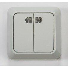 Выключатель 2кл с подсветкой BOLLETO  белый накл 7123