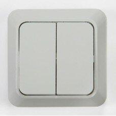 Выключатель 2кл AQUA  белый п/герм 3200
