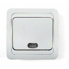 Выключатель 1кл с подсветкой CLASSICO  белый 2121